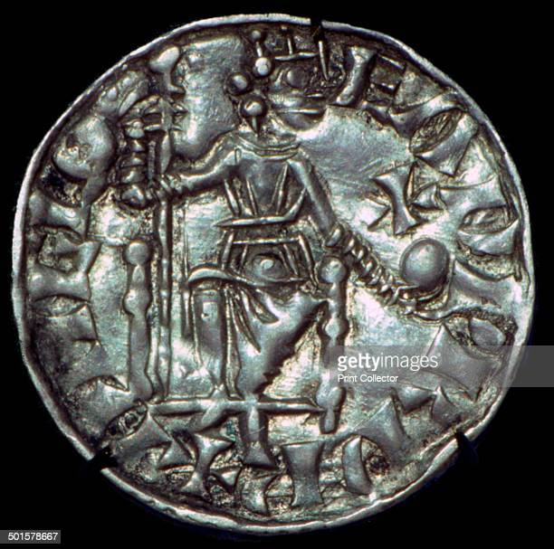 Silver penny of Edward the Confessor full figure showing the reverse face from the Chester Mint