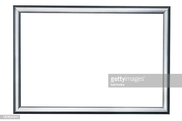 silver picture frame on white background - silver coloured stock pictures, royalty-free photos & images