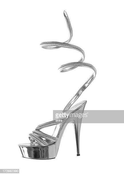 silver - silver shoe stock photos and pictures