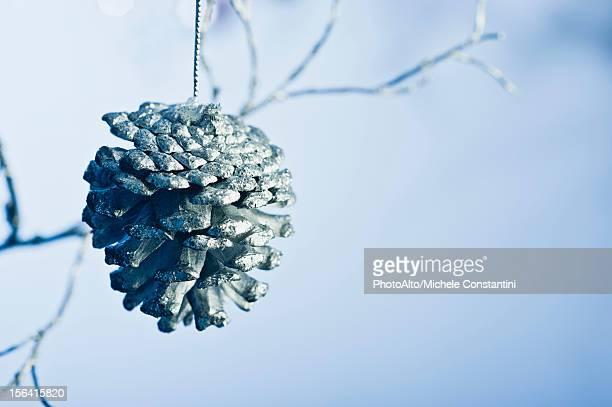 Silver pine cone ornament