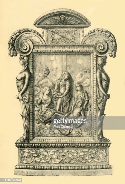 Silver plaque 16th century Etching of a parcelgilt plaque depicting the Deposition from the Cross made in Spain possibly in the 16th century The...
