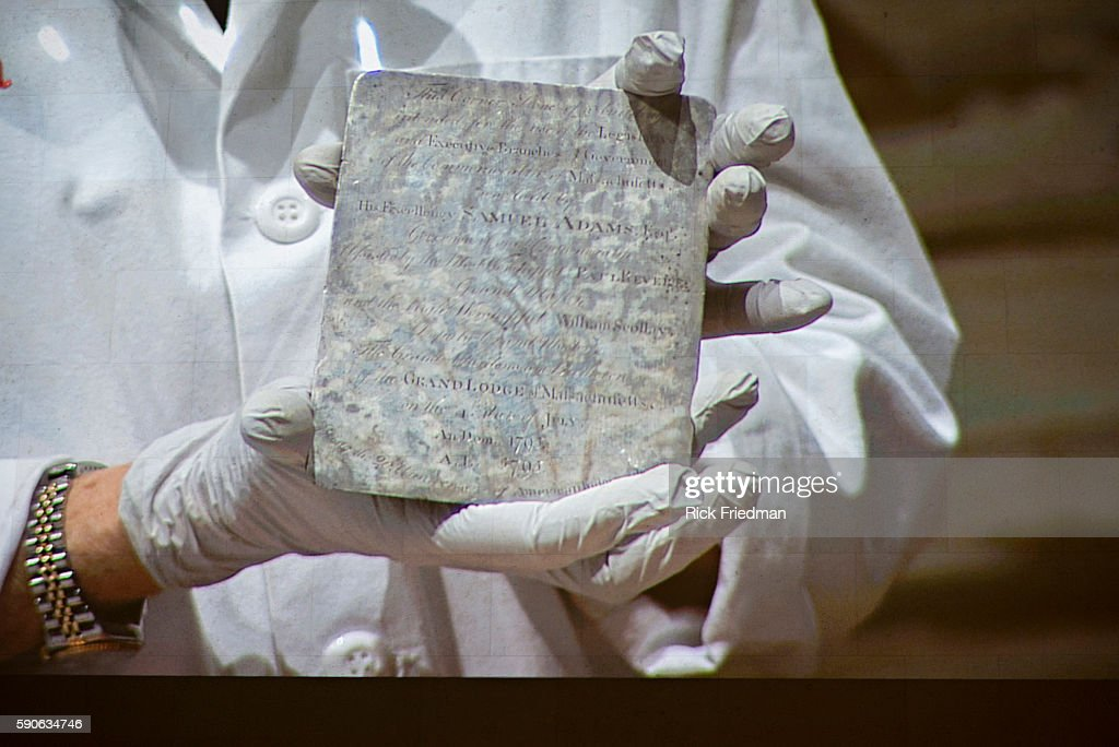 Opening of the 1795 Time Capsule from the MA State House : News Photo