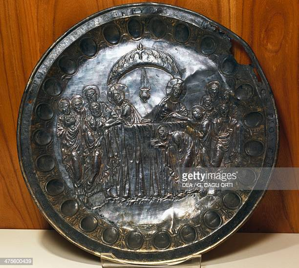 Silver plate depicting the Last Supper from Aleppo Syria Byzantine civilisation 5th century Istanbul Arkeoloji Muzerleri