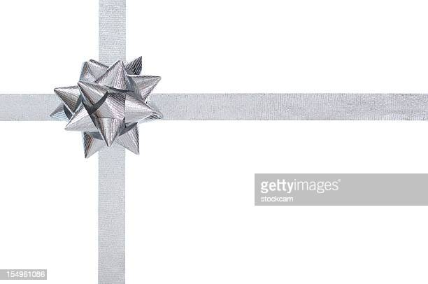 silver present bow and ribbon, isolated on white - silver coloured stock pictures, royalty-free photos & images