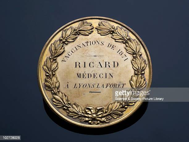 Silver prize medal for vaccination work France 18701872 Gilded silver prize medal awarded to Dr Ricard of Lyons for his vaccination work in 1871 by...