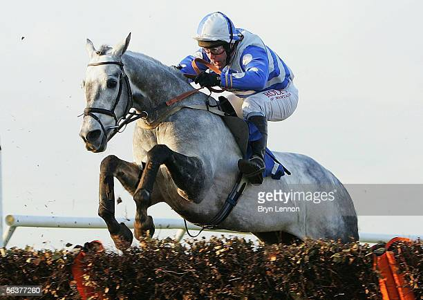 Silver Prophet ridden by Sean Curran is seen in action during the Racing UK Novices' Handicap Steeple Chase at Huntingdon Race Course on December 8...