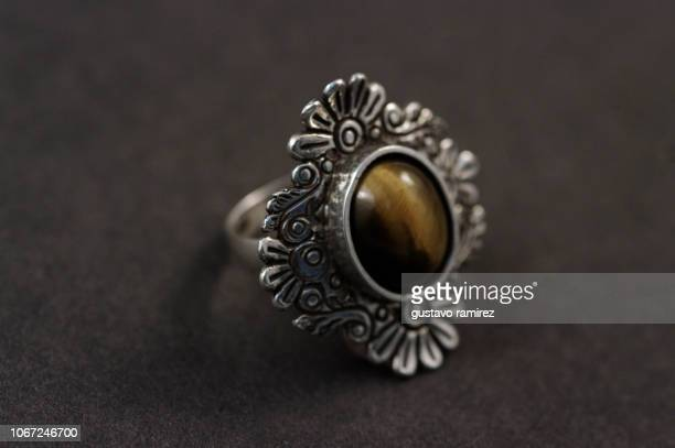 silver ring and turquoise stone - platinum rings stock pictures, royalty-free photos & images