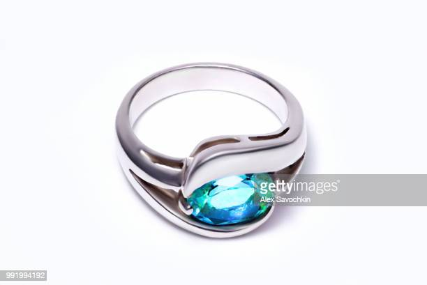 silver ring with topaz - platinum stock pictures, royalty-free photos & images