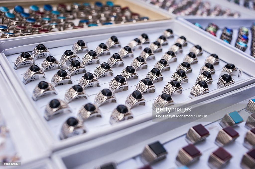 Silver Rings For Sale At Store : Stock Photo