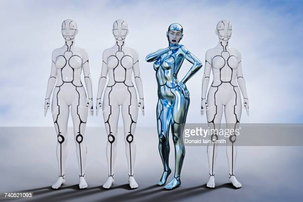 Silver robot woman standing out from crowd