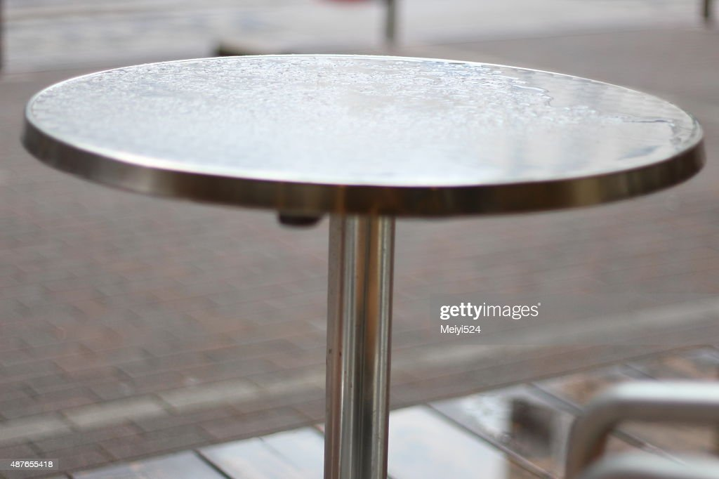 ... Silver Round Table With Raindrops On Surface, Japan; Workbench Metal ...
