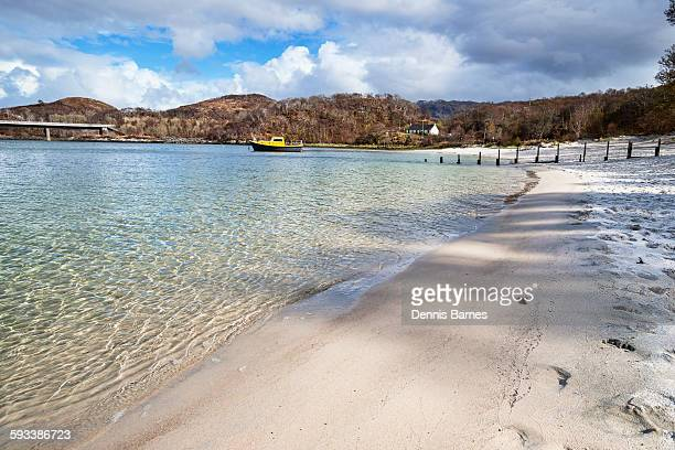 silver sands of morar, mallaig, highland scotland - mallaig stock photos and pictures