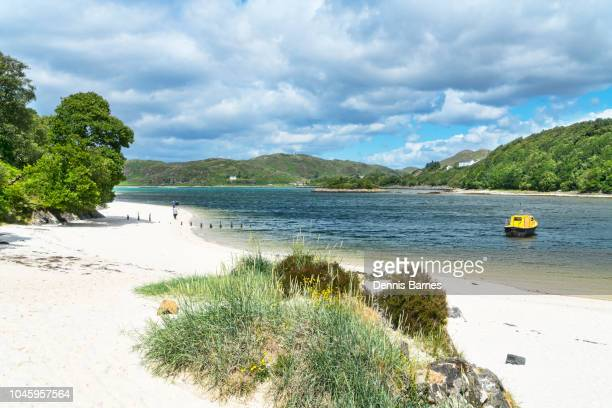 silver sands of morar, near mallaig, road to isles, highland region, scotland - mallaig stock photos and pictures