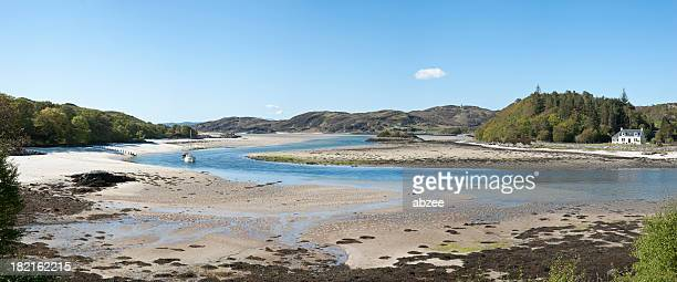 silver sands of morar panorama - mallaig stock photos and pictures