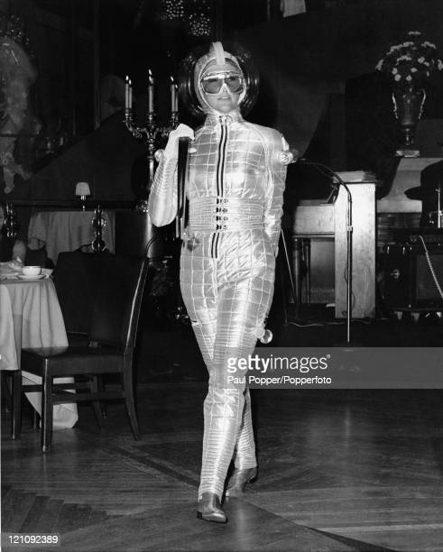 A silver ski suit by American designer Van Lupu 7th May 1968 The outfit is temperaturecontrolled and illuminated for nighttime skiing It is on...