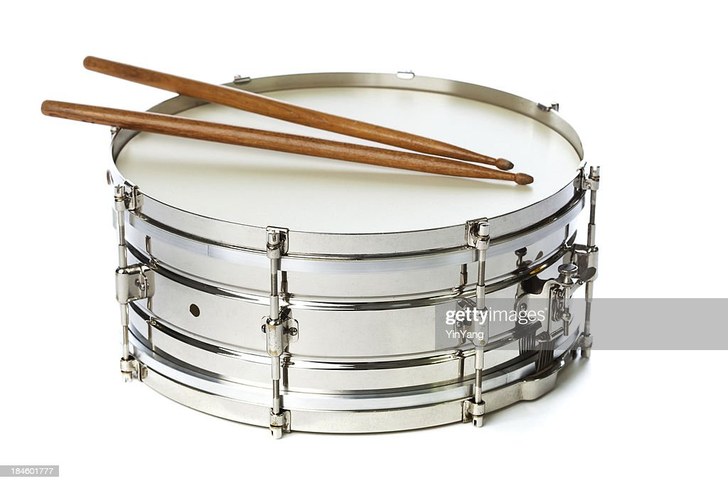 silver snare tin drum with sticks stock photo getty images. Black Bedroom Furniture Sets. Home Design Ideas