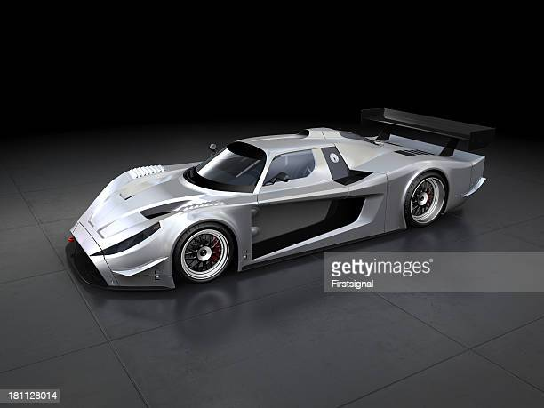 Silver sport car on black background
