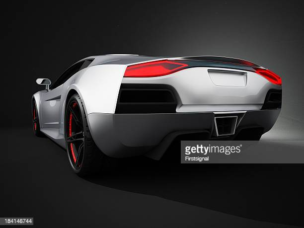 Silver sport Auto auf studio-Hintergrund Schwarz
