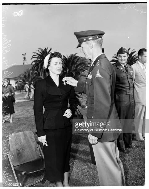 Silver Star metal presentation 12 November 1952 Mrs Ellen L Ingelsby Major General Ira P SwiftLieutenant James H Townsend Keith S Miller Robert...