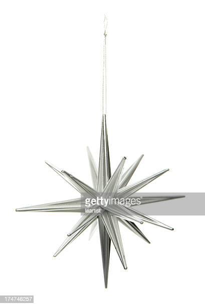 Silver star ornament.