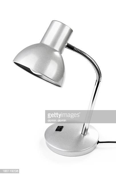 Silver steel and chrome desk lamp isolated on white background