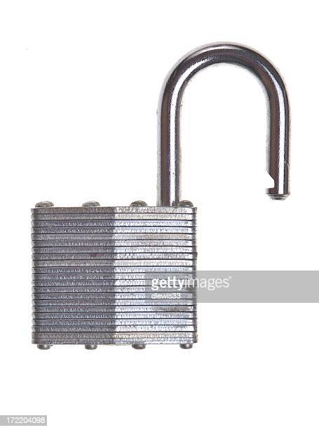 Silver steel locking device opened