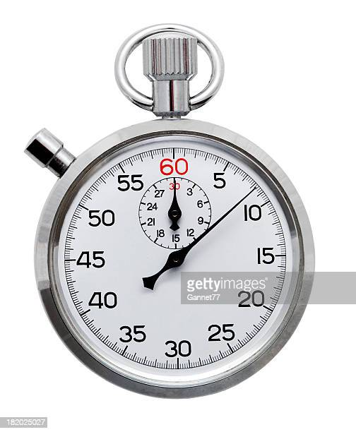 A silver stopwatch isolated on a white background
