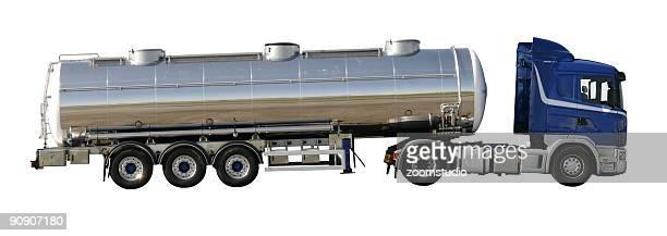 silver tank-lkw-mit schneidepfaden - vorratstank stock-fotos und bilder