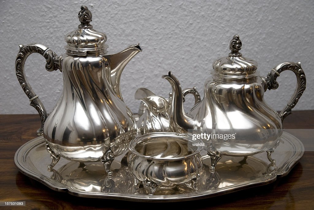 silver teapot - Silberne Teekanne : Stock Photo