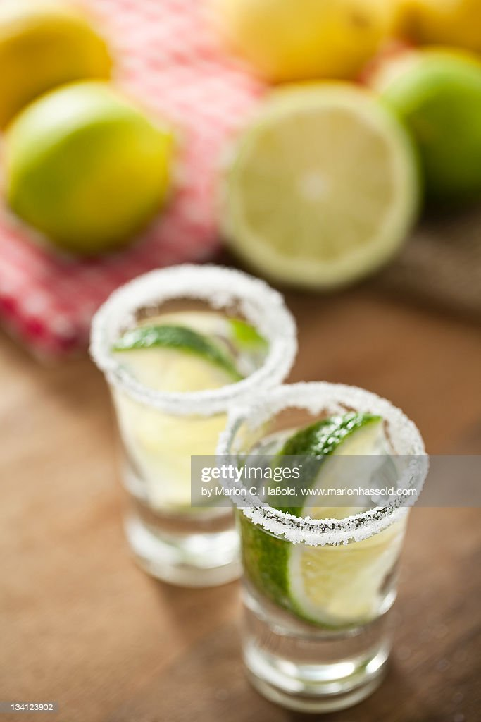 Silver Tequila, limes and salt : Stock Photo