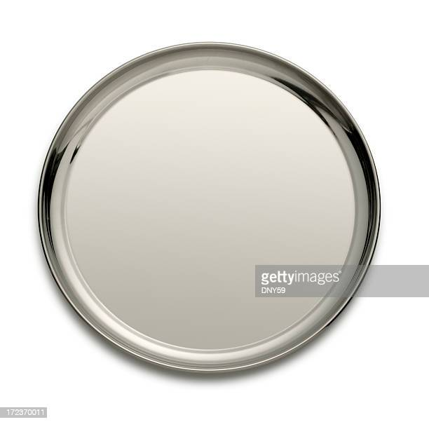 silver tray isolated on a white backgtound - silver metal stock pictures, royalty-free photos & images