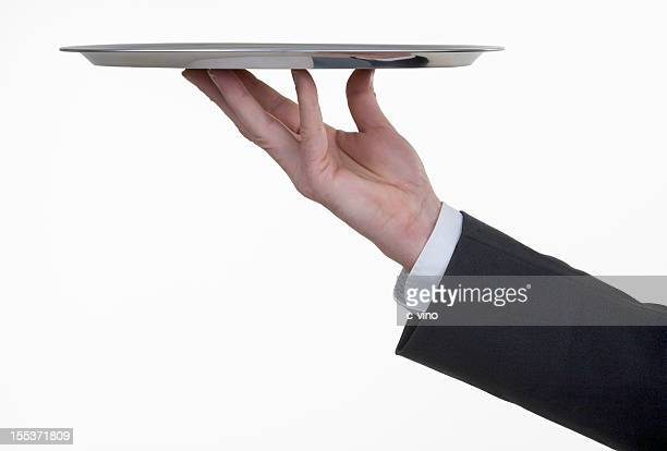 silver tray with hand - waiter stock pictures, royalty-free photos & images