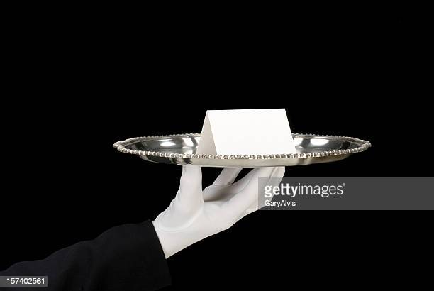 Silver tray with place card