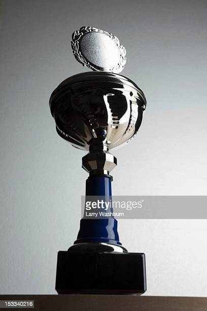 A silver trophy with blank plaque surrounded by laurel wreath