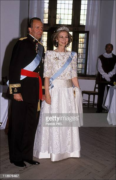 Silver wedding ceremony of Margrethe and Henrik of Denmark in Denmark on June 10 1992Sofia of Spain and Juan Carlos