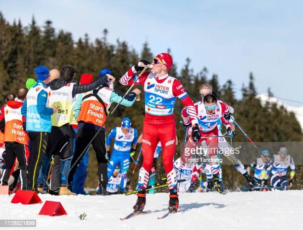 Silver Winner Alexander Bolshunov of Russia during FIS Nordic World Ski Championship Men 50 km Mass Start Free at Seefeld / Tirol on March 03, 2019...