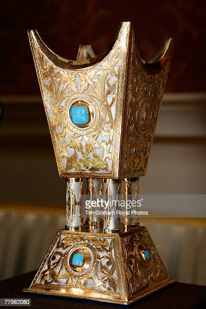 Silvergilt scent burner presented to the Queen by King Fahd on display around the Royal Collection in the Picture Gallery at Buckingham Palace for...