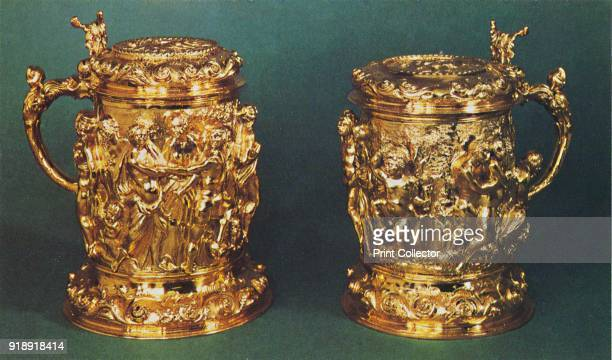 'Silvergilt tankards c1661' 1953 The pieces are part of the Royal Collection at the Tower of London From The Crown Jewels by Martin Holmes FSA [Her...