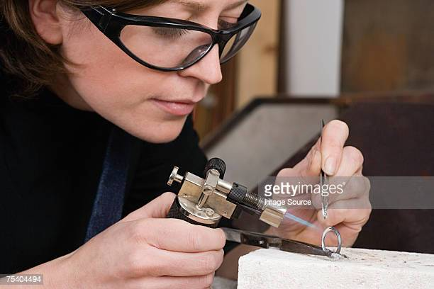 Silversmith at work