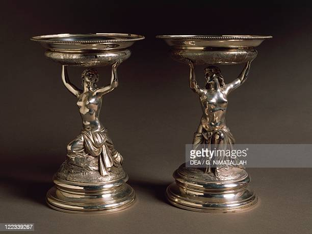 Silversmith's Art England 19th century Pair of silver cakestands supported by female figures Victorian style Hancock and Co London 1886