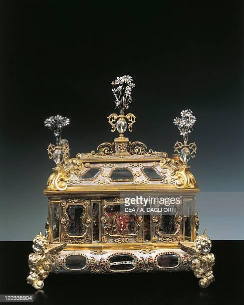 Silversmith's art Italy 17th century Silver gilt rock crystal ebony and enamel reliquary of Saint Brigida of Sweden Grandducal workshops 16001650...
