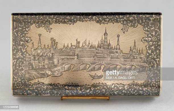 Silversmith's Art Russia 19th century Silver cigar case decorated with niello back side depicting a sight of Moscow