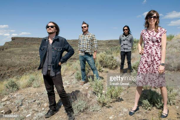 Silversun Pickups pose for a portrait backstage at the Sasquatch Music Festival in George Washington United States on 28th May 2012 LR Brian Aubert...