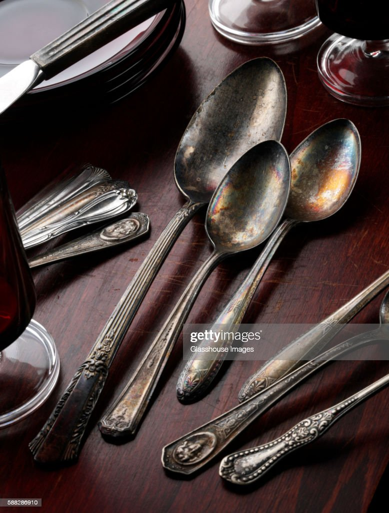 Silverware on Wooden Table : Stock Photo