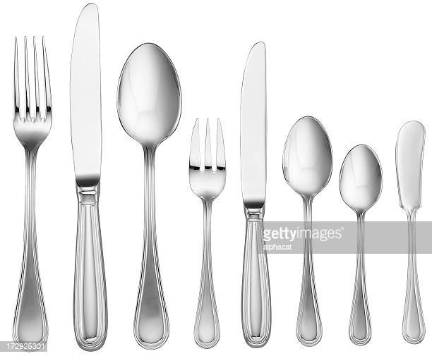 silverware set (with clipping path) - silverware stock pictures, royalty-free photos & images