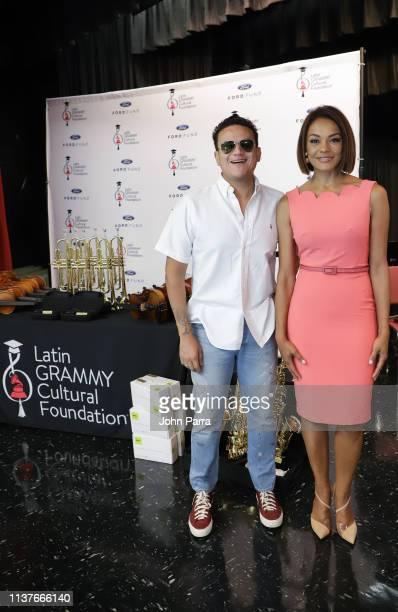 Silvestre Dangond and Ilia Calderon attend the West Miami Middle School during the Latin GRAMMY In The SchoolsMiami 2019 with the Latin GRAMMY...