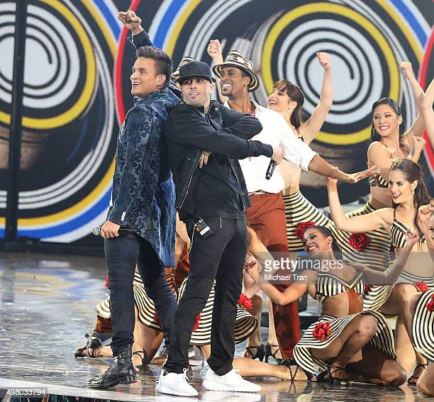 Silvestre Dangond and Nicky Jam perform onstage during the 16th Annual Latin GRAMMY Awards held at MGM Grand Garden Arena on November 19 2015 in Las...