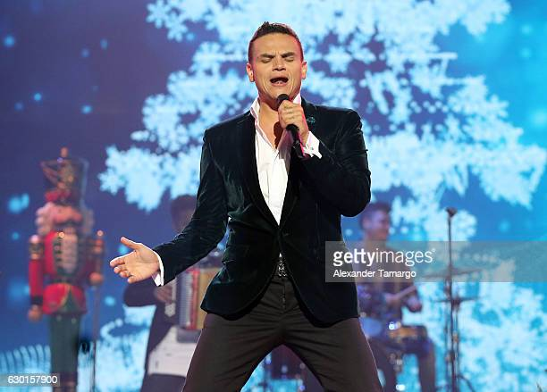 Silvestre Dangond is seen performing during Univision's 'Navidad En Familia' Christmas Special on November 29 2016 in Miami Florida The special aired...