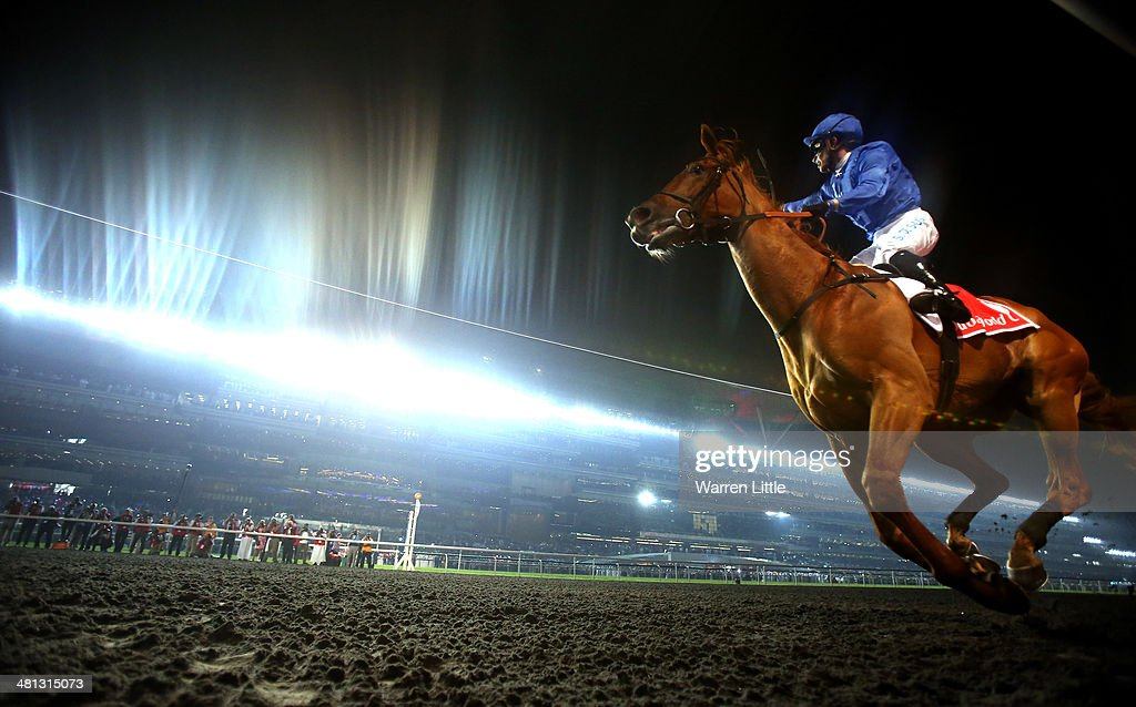 Silvestre De Sousa celebrates riding African Story to victory the Dubai World Cup at the Meydan Racecourse on March 29, 2014 in Dubai, United Arab Emirates.