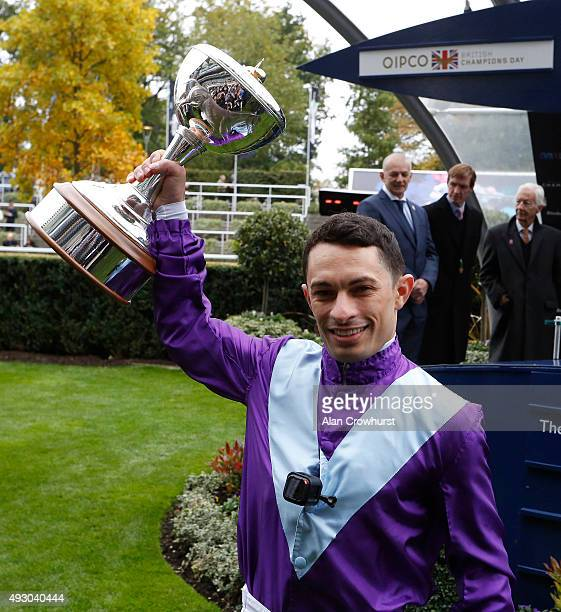 ASCOT ENGLAND OCTOBER 17 Silvestre De Sousa champion flat jockey for 2016 poses at Ascot racecourse on October 17 2015 in Ascot England